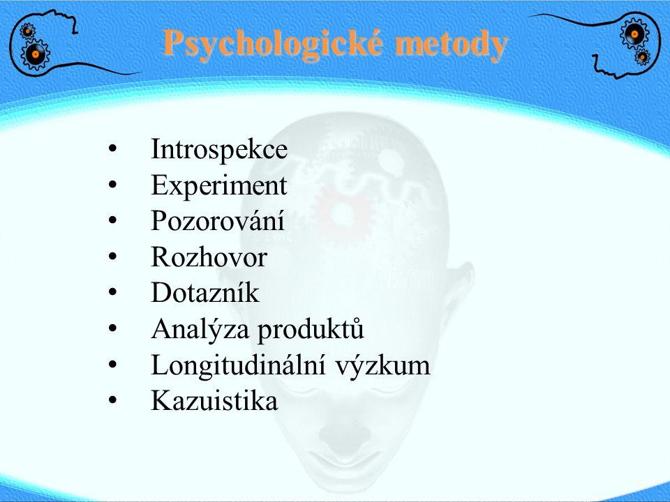 Psychologické metody Introspekce Experiment Pozorování Rozhovor