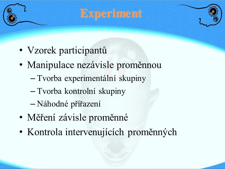 Experiment Vzorek participantů Manipulace nezávisle proměnnou