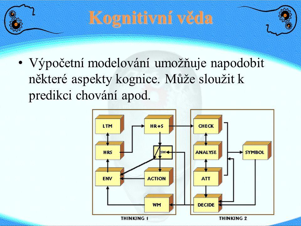 Kognitivní věda Výpočetní modelování umožňuje napodobit některé aspekty kognice.