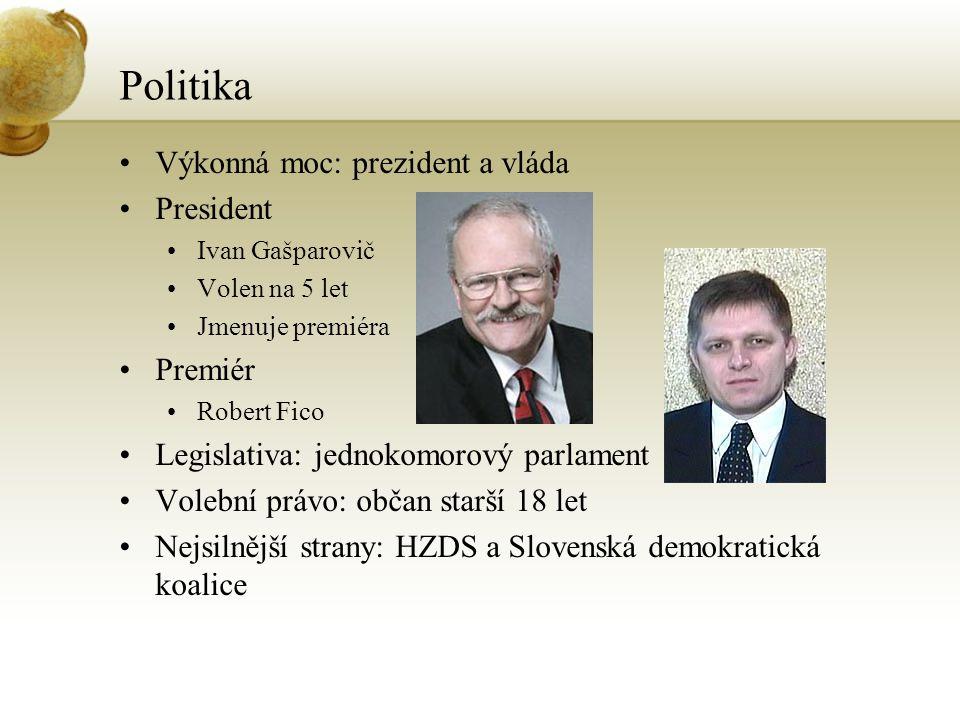 Politika Výkonná moc: prezident a vláda President Premiér