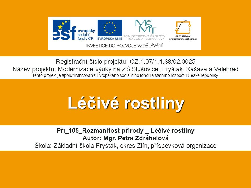Léčivé rostliny Registrační číslo projektu: CZ.1.07/1.1.38/02.0025