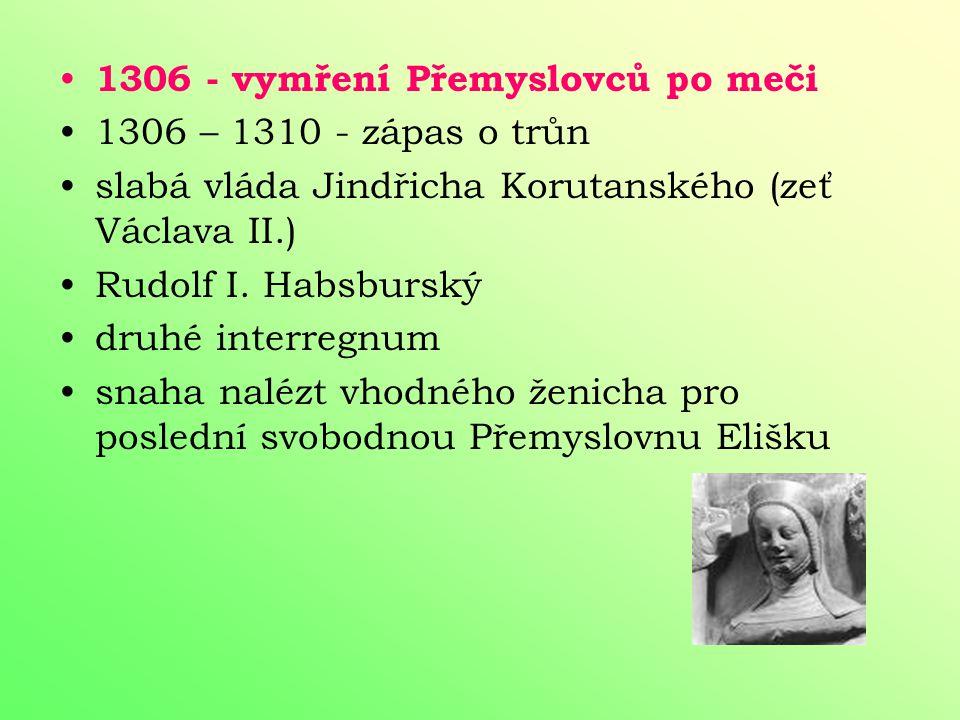1306 - vymření Přemyslovců po meči