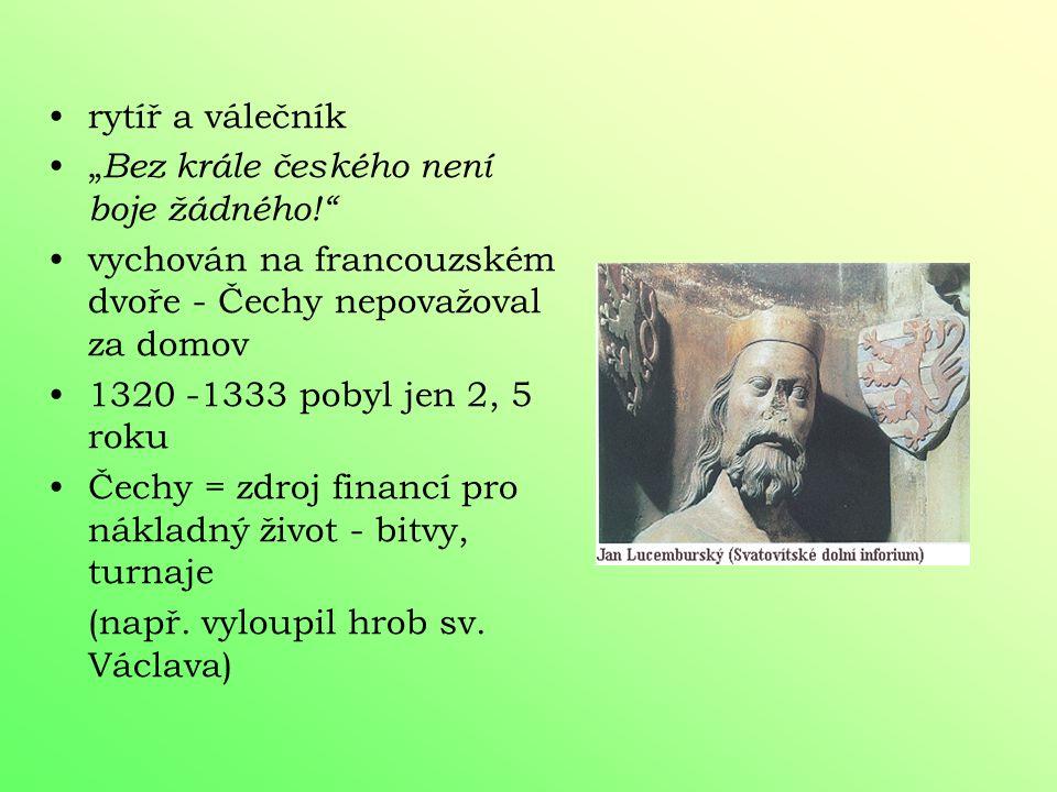 """rytíř a válečník """"Bez krále českého není boje žádného! vychován na francouzském dvoře - Čechy nepovažoval za domov."""