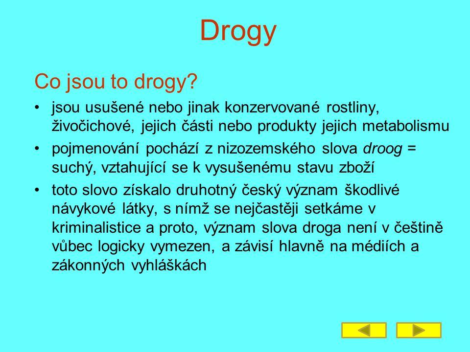 Drogy Co jsou to drogy jsou usušené nebo jinak konzervované rostliny, živočichové, jejich části nebo produkty jejich metabolismu.