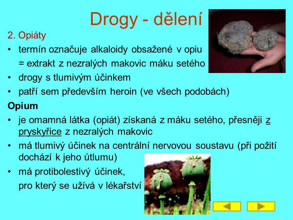 Drogy - dělení 2. Opiáty termín označuje alkaloidy obsažené v opiu