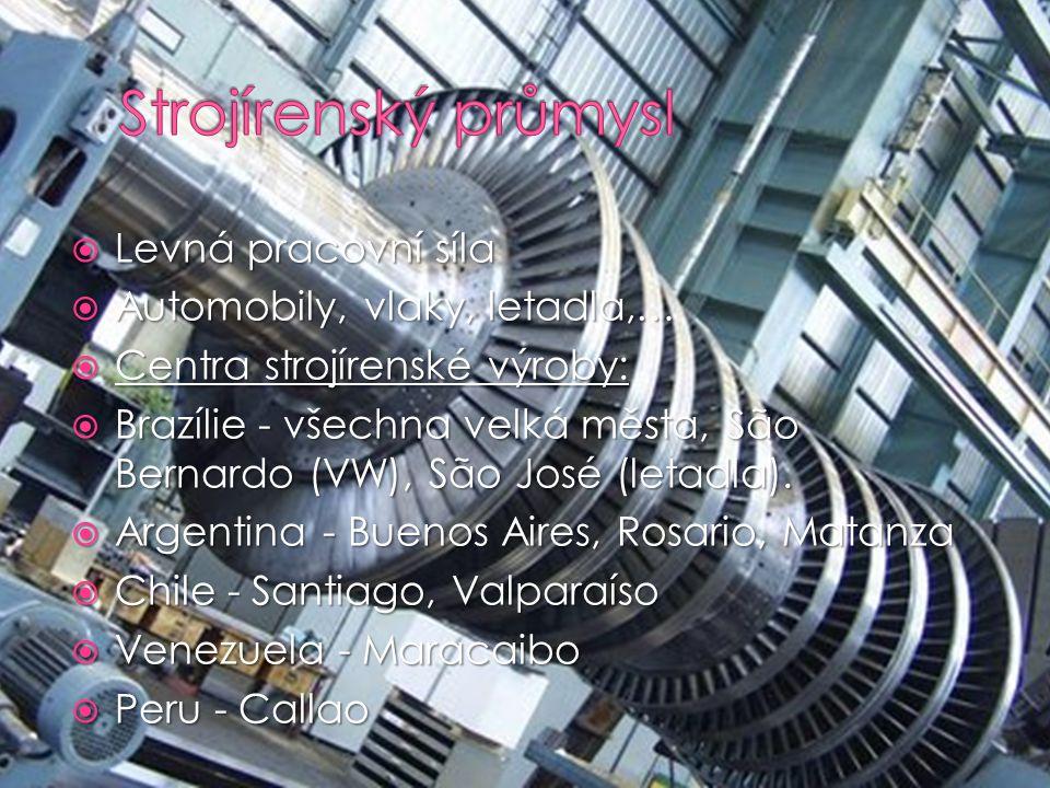 Strojírenský průmysl Levná pracovní síla Automobily, vlaky, letadla,…