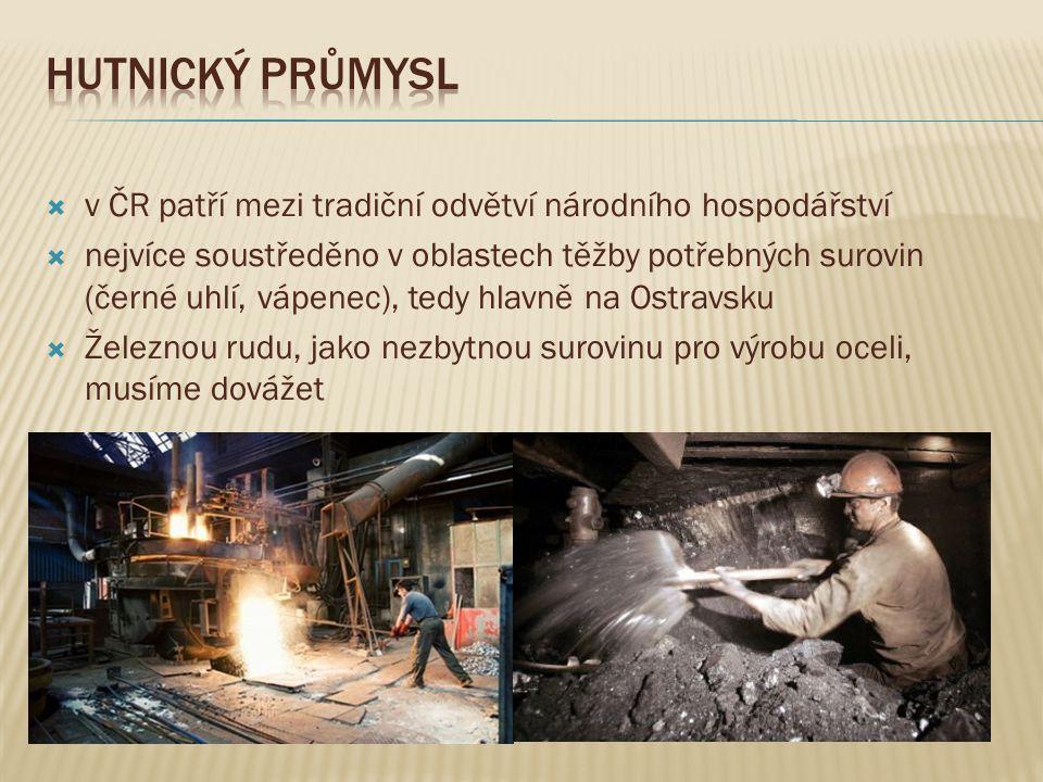 Hutnický průmysl v ČR patří mezi tradiční odvětví národního hospodářství.