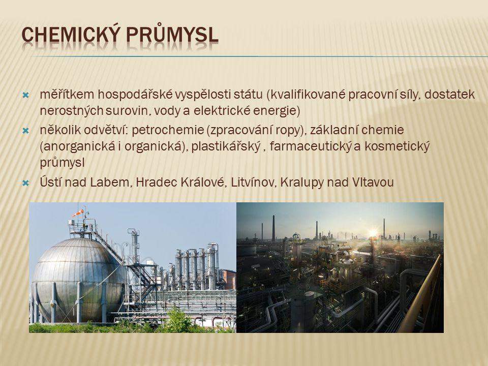 Chemický průmysl měřítkem hospodářské vyspělosti státu (kvalifikované pracovní síly, dostatek nerostných surovin, vody a elektrické energie)