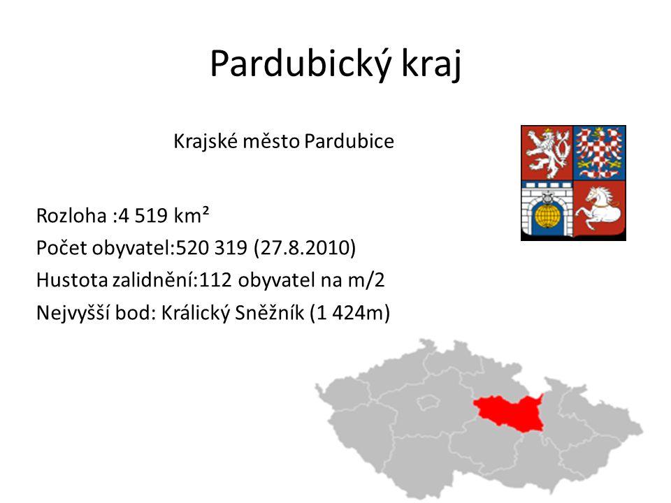Pardubický kraj Krajské město Pardubice Rozloha :4 519 km²