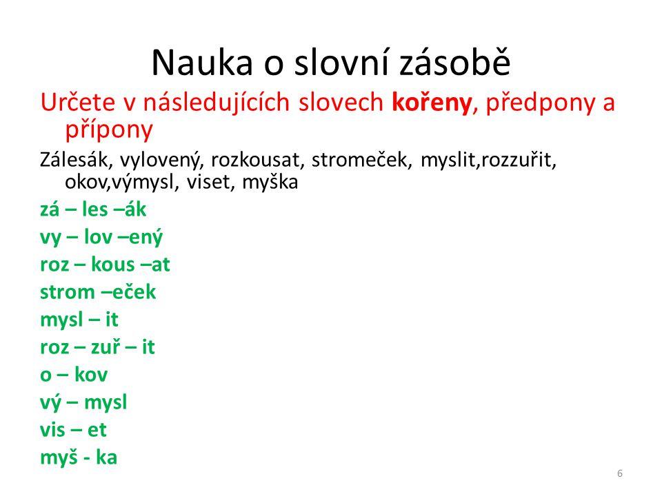 Nauka o slovní zásobě Určete v následujících slovech kořeny, předpony a přípony.