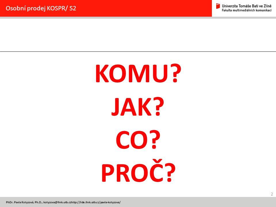 KOMU JAK CO PROČ Osobní prodej KOSPR/ S2