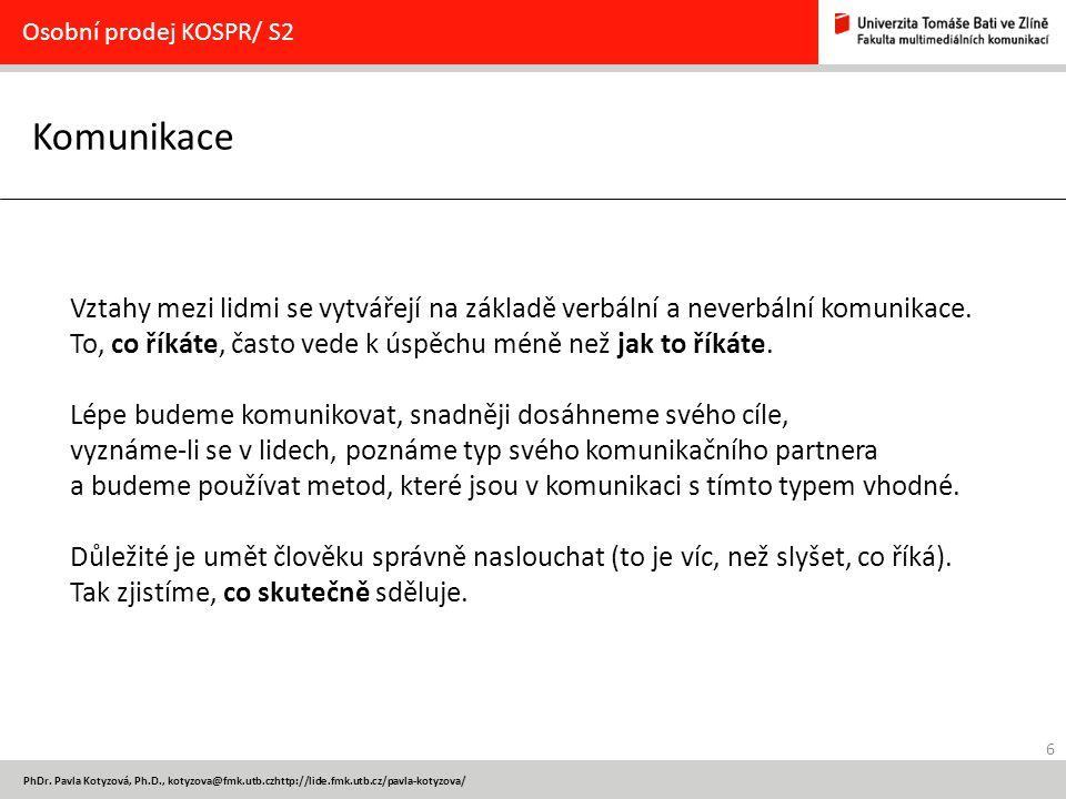 Osobní prodej KOSPR/ S2 Komunikace.