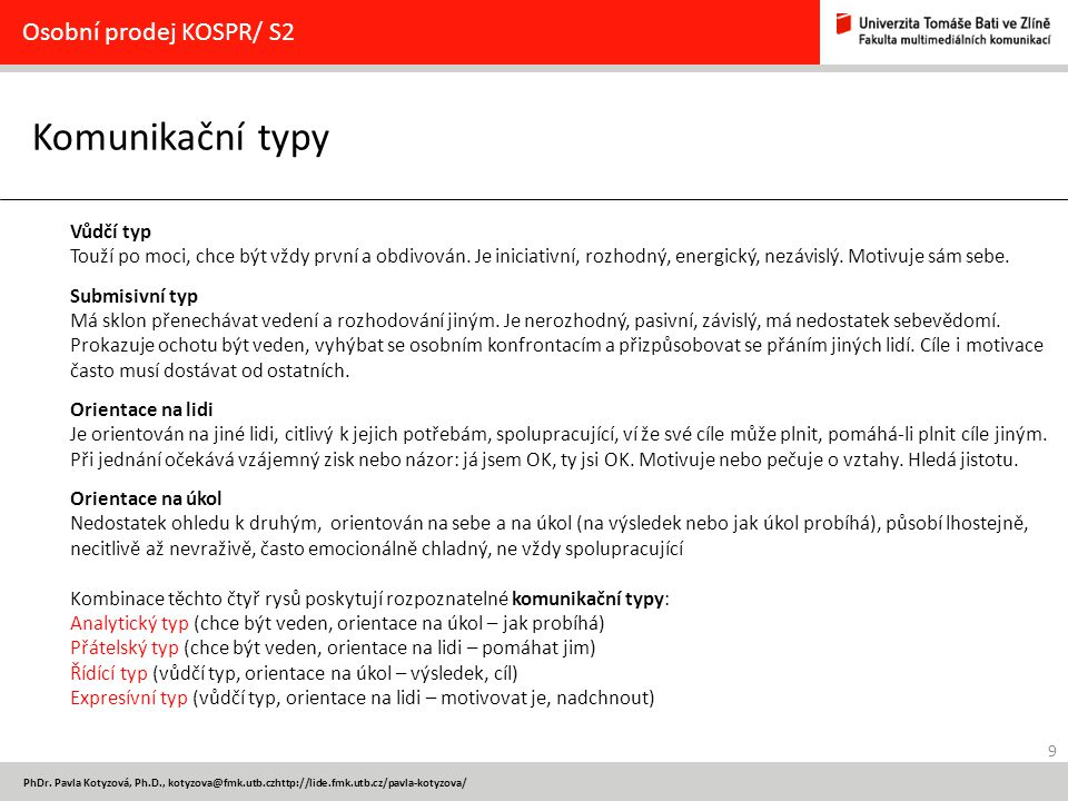 Komunikační typy Osobní prodej KOSPR/ S2 Vůdčí typ