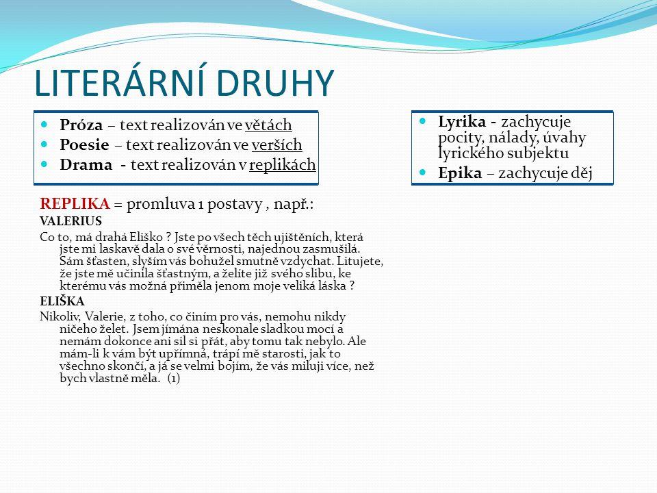 LITERÁRNÍ DRUHY Próza – text realizován ve větách. Poesie – text realizován ve verších. Drama - text realizován v replikách.