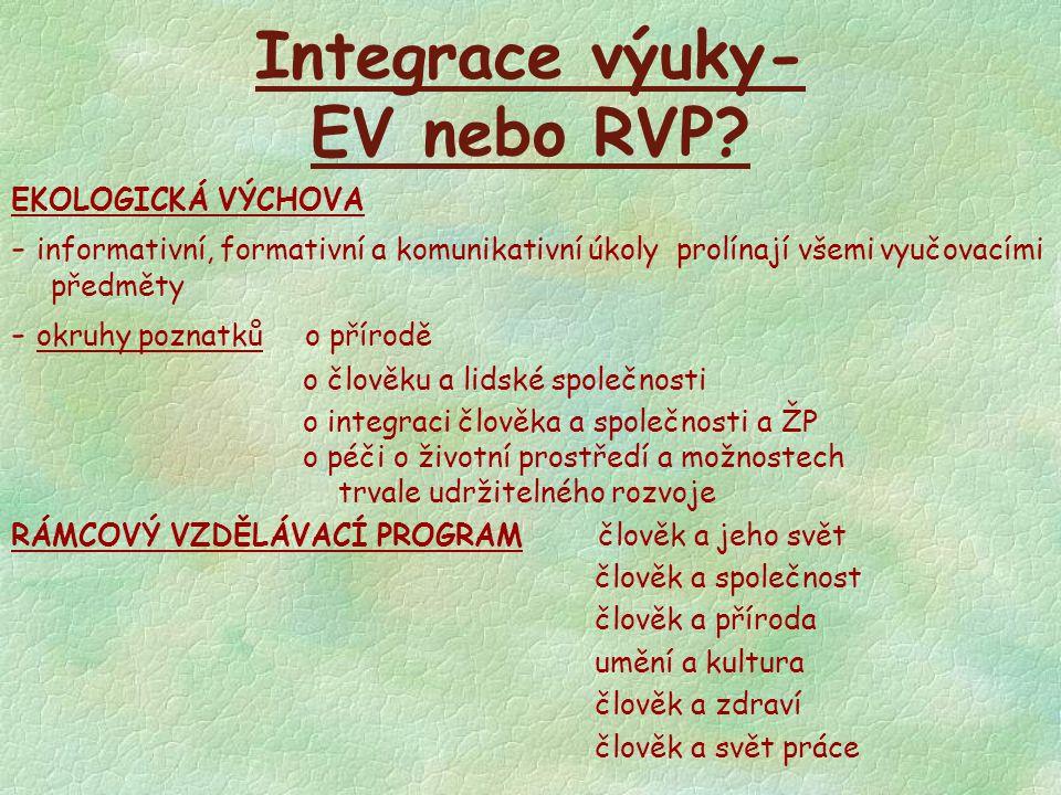 Integrace výuky- EV nebo RVP