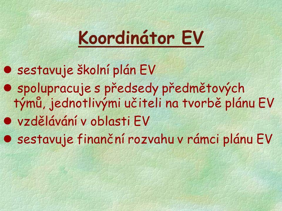 Koordinátor EV sestavuje školní plán EV