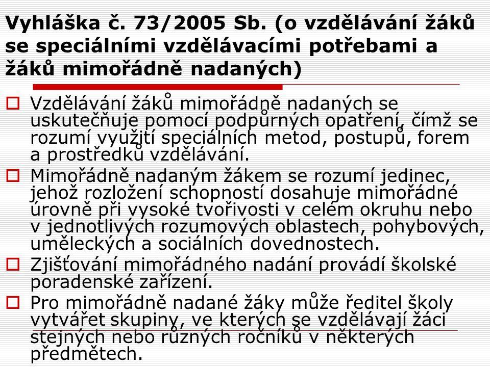 Vyhláška č. 73/2005 Sb. (o vzdělávání žáků se speciálními vzdělávacími potřebami a žáků mimořádně nadaných)