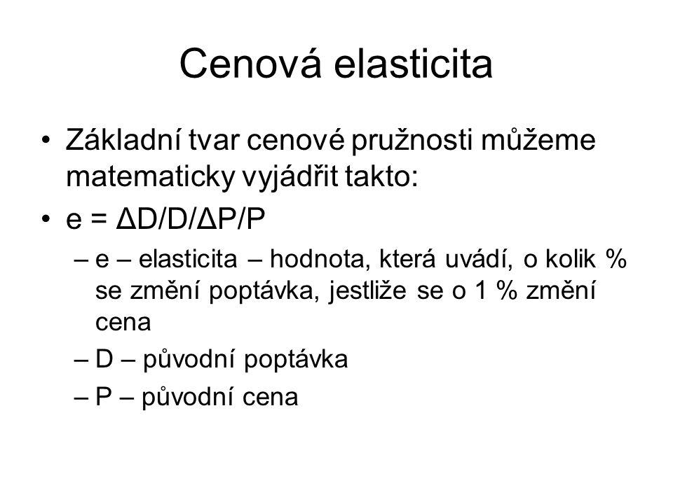 Cenová elasticita Základní tvar cenové pružnosti můžeme matematicky vyjádřit takto: e = ΔD/D/ΔP/P.