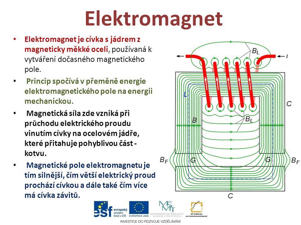 Elektromagnet Elektromagnet je cívka s jádrem z magneticky měkké oceli, používaná k vytváření dočasného magnetického pole.
