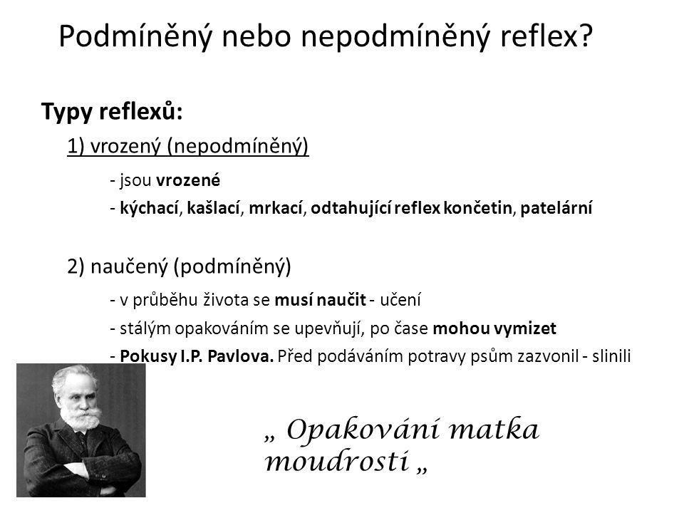 Podmíněný nebo nepodmíněný reflex