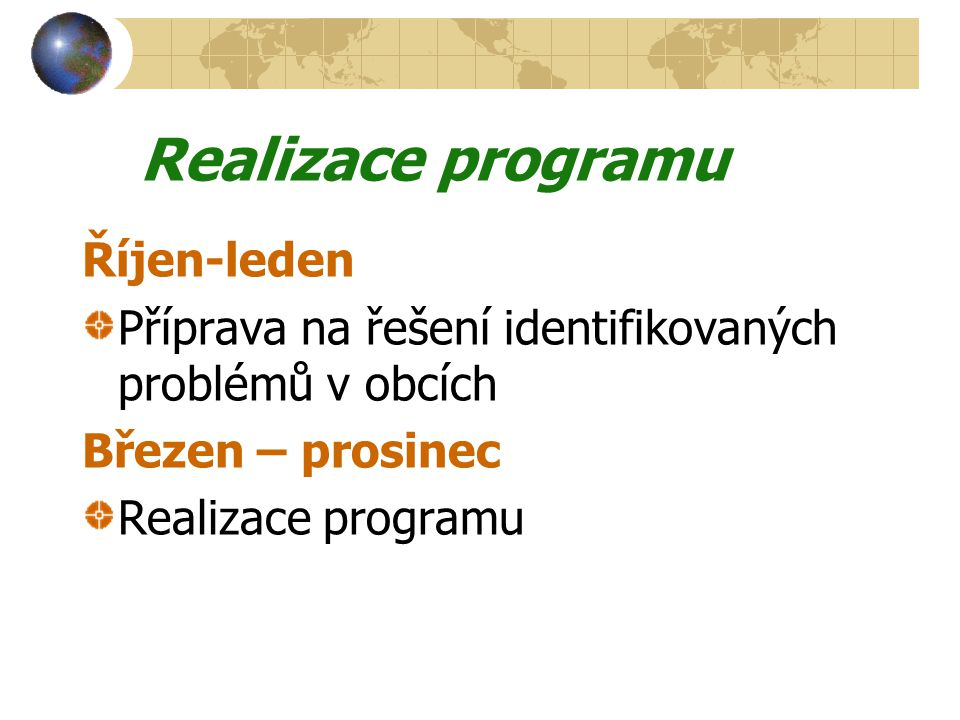 Realizace programu Říjen-leden