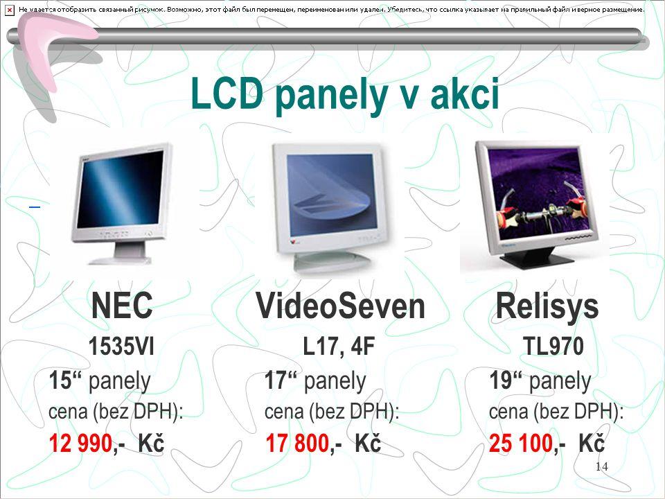 LCD panely v akci NEC VideoSeven Relisys 1535VI L17, 4F TL970