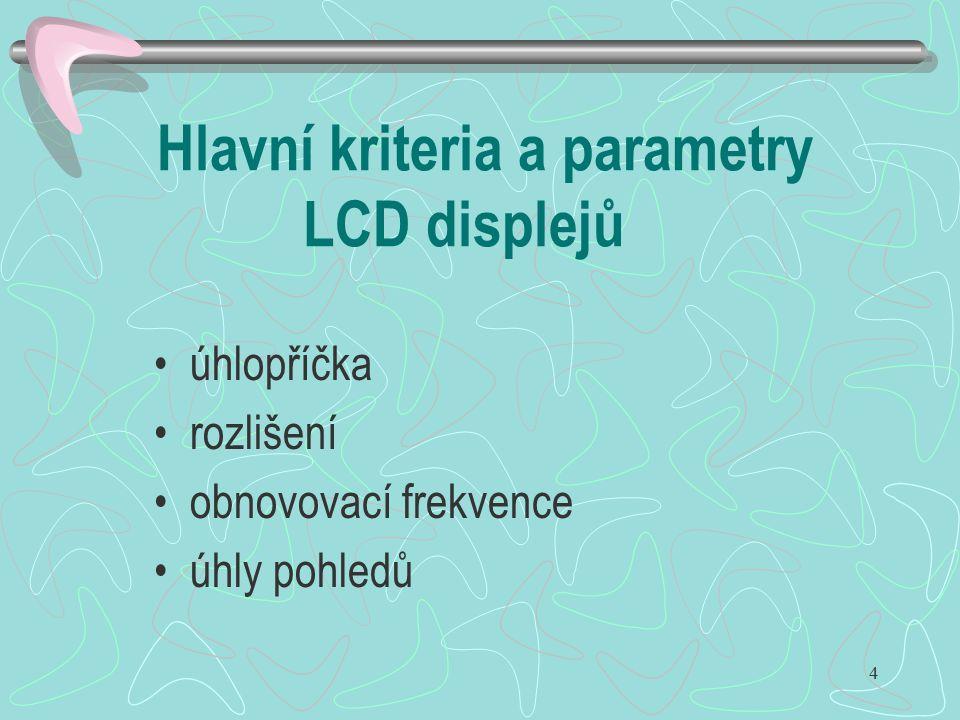 Hlavní kriteria a parametry LCD displejů