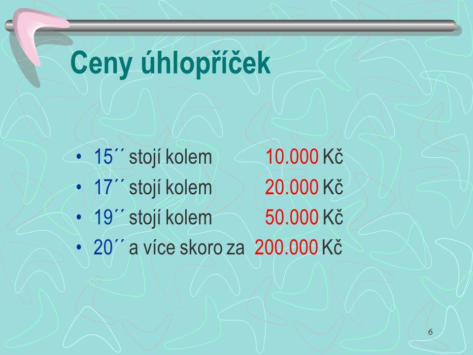 Ceny úhlopříček 15´´ stojí kolem 10.000 Kč 17´´ stojí kolem 20.000 Kč