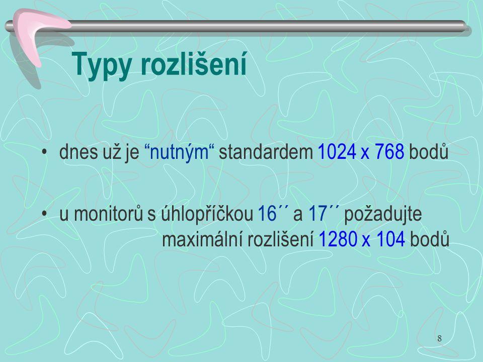 Typy rozlišení dnes už je nutným standardem 1024 x 768 bodů