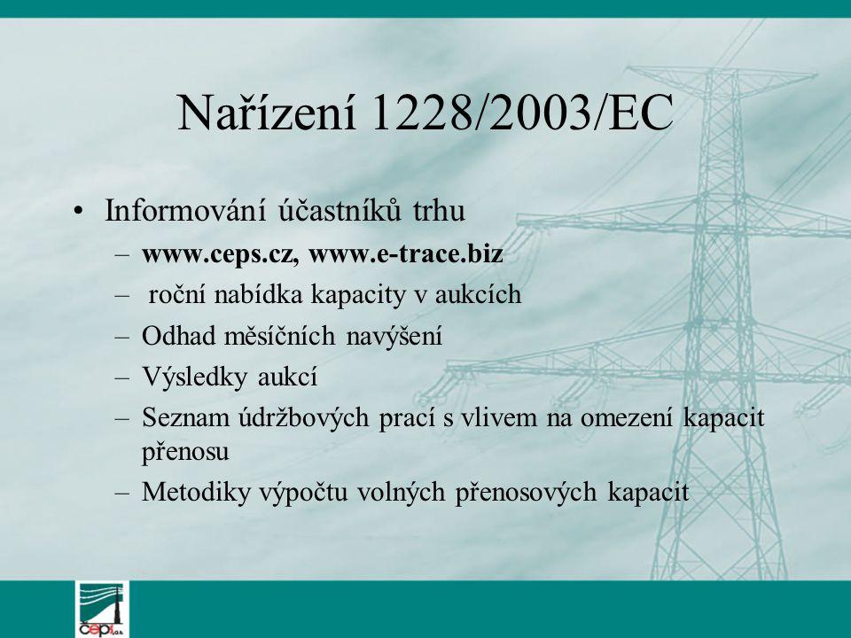 Nařízení 1228/2003/EC Informování účastníků trhu