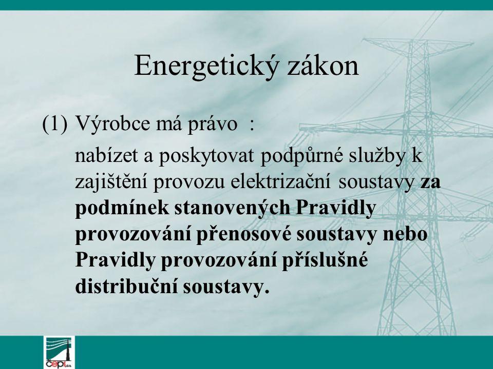 Energetický zákon Výrobce má právo :