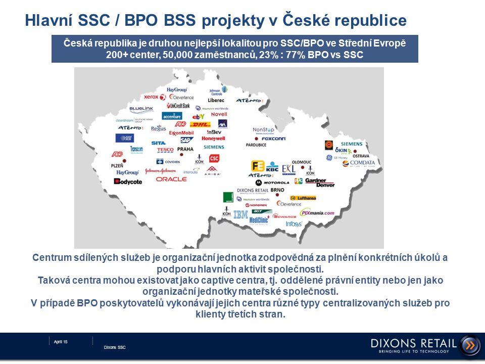 Hlavní SSC / BPO BSS projekty v České republice