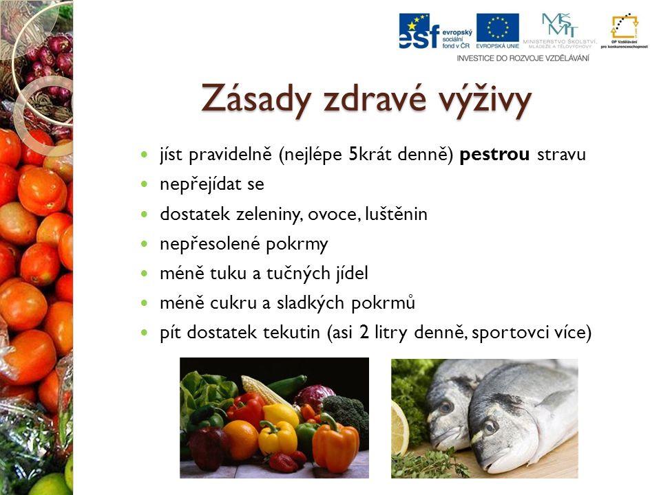 Zásady zdravé výživy jíst pravidelně (nejlépe 5krát denně) pestrou stravu. nepřejídat se. dostatek zeleniny, ovoce, luštěnin.