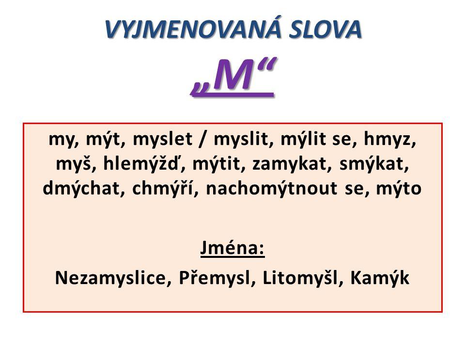 """VYJMENOVANÁ SLOVA """"M"""