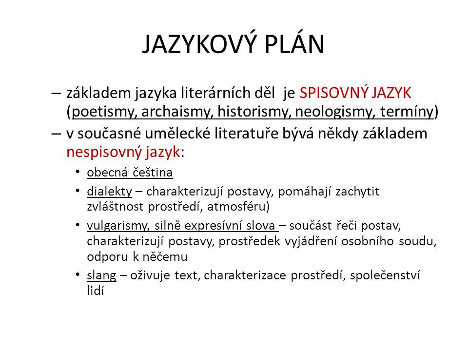 JAZYKOVÝ PLÁN základem jazyka literárních děl je SPISOVNÝ JAZYK (poetismy, archaismy, historismy, neologismy, termíny)