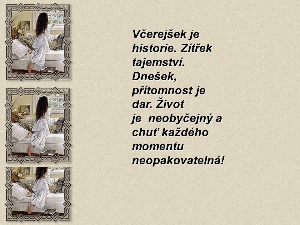 Včerejšek je historie. Zítřek tajemství. Dnešek, přítomnost je dar