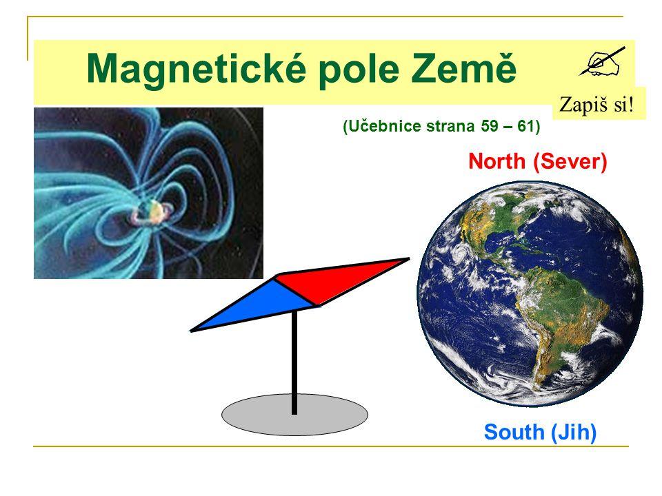 Magnetické pole Země Zapiš si! North (Sever) South (Jih)