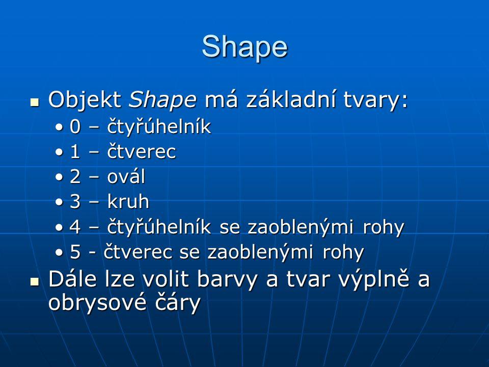 Shape Objekt Shape má základní tvary: