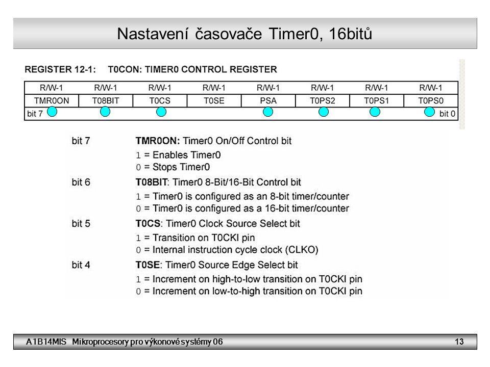 Nastavení časovače Timer0, 16bitů