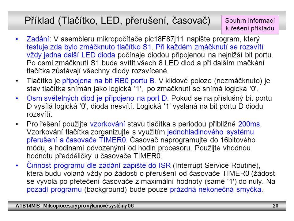 Příklad (Tlačítko, LED, přerušení, časovač)