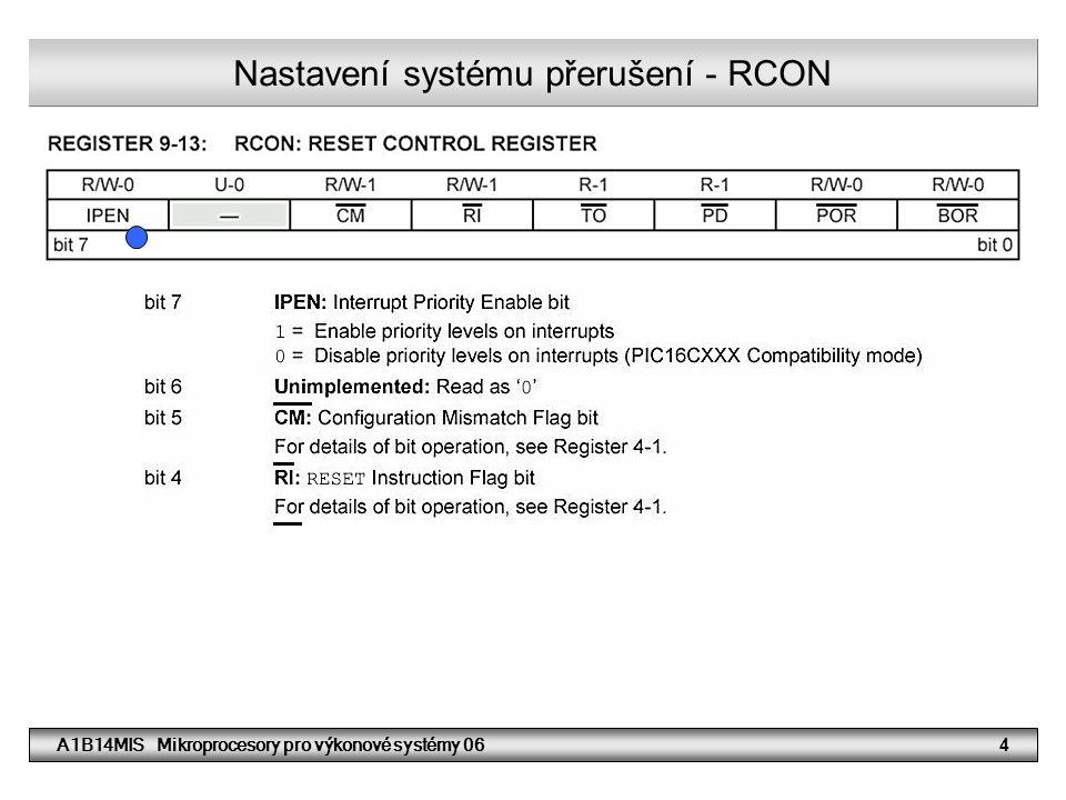 Nastavení systému přerušení - RCON