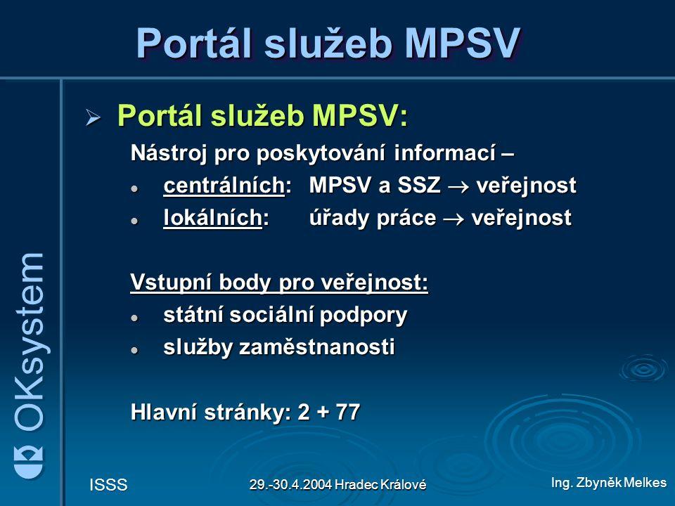 Portál služeb MPSV Portál služeb MPSV: