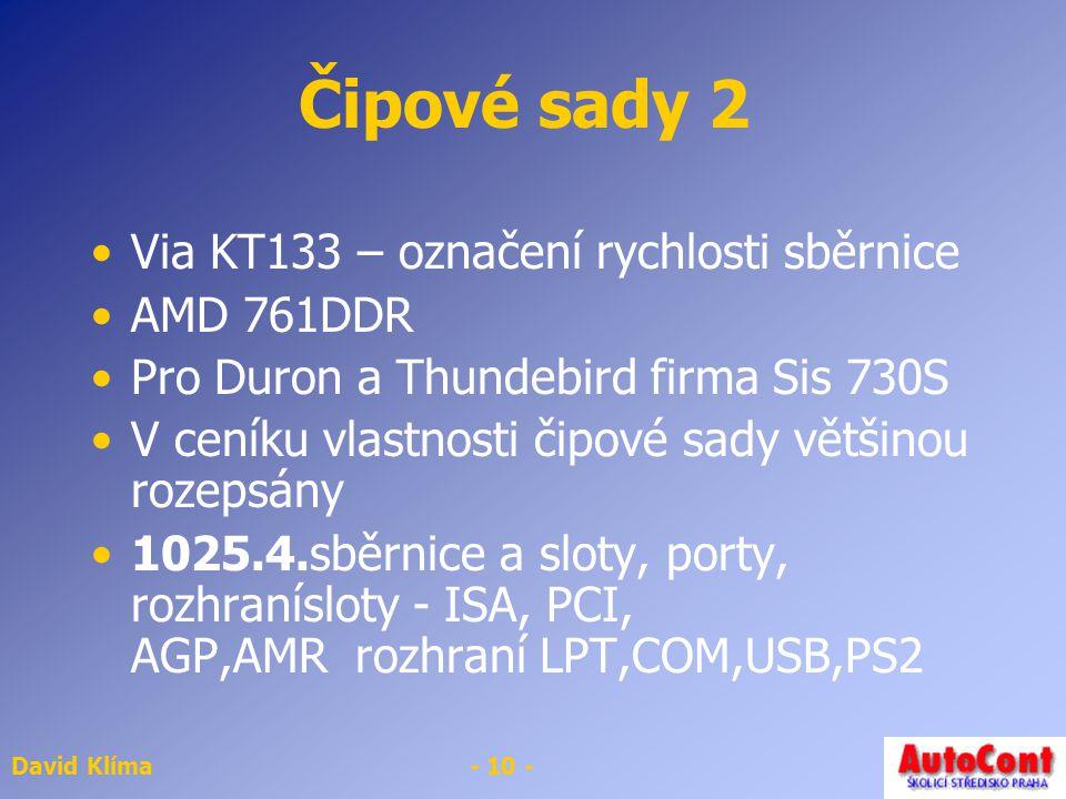 Čipové sady 2 Via KT133 – označení rychlosti sběrnice AMD 761DDR