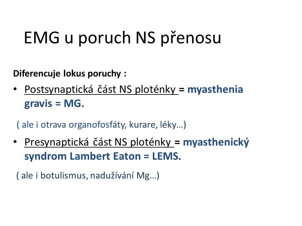 EMG u poruch NS přenosu ( ale i otrava organofosfáty, kurare, léky…)