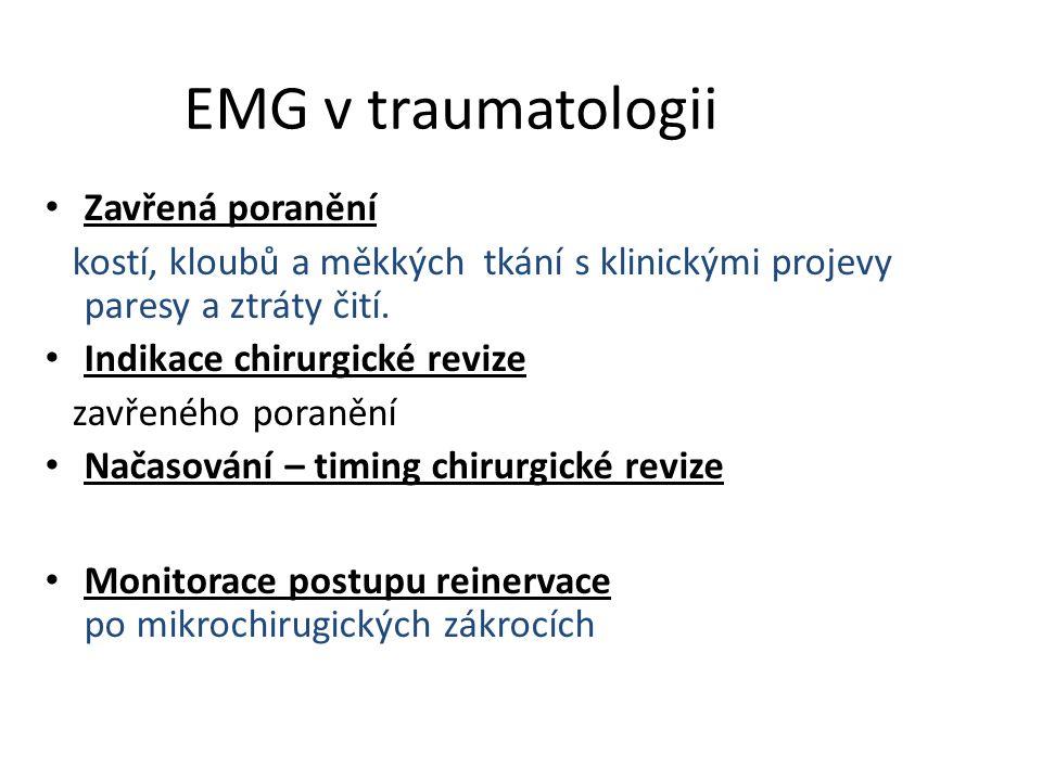 EMG v traumatologii Zavřená poranění