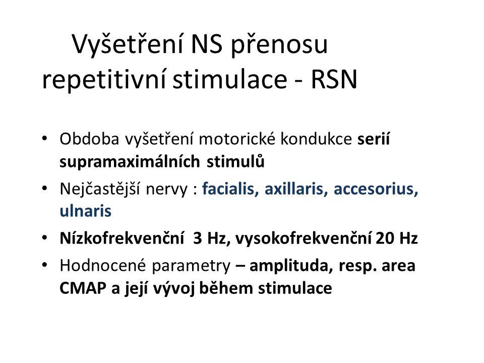 Vyšetření NS přenosu repetitivní stimulace - RSN