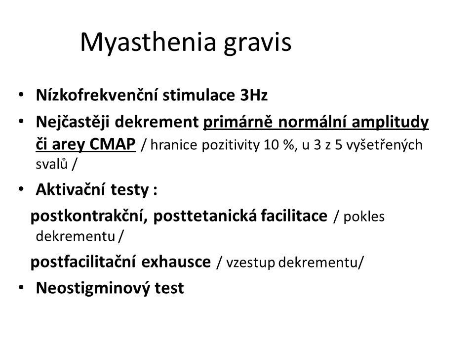 Myasthenia gravis Nízkofrekvenční stimulace 3Hz