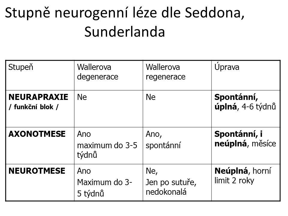 Stupně neurogenní léze dle Seddona, Sunderlanda