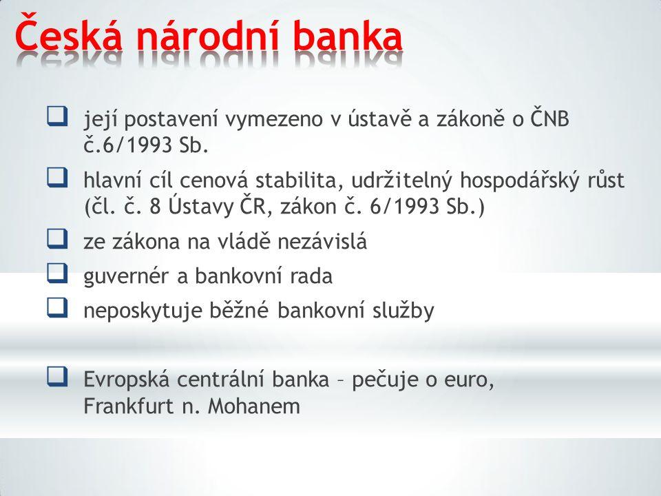Česká národní banka její postavení vymezeno v ústavě a zákoně o ČNB č.6/1993 Sb.