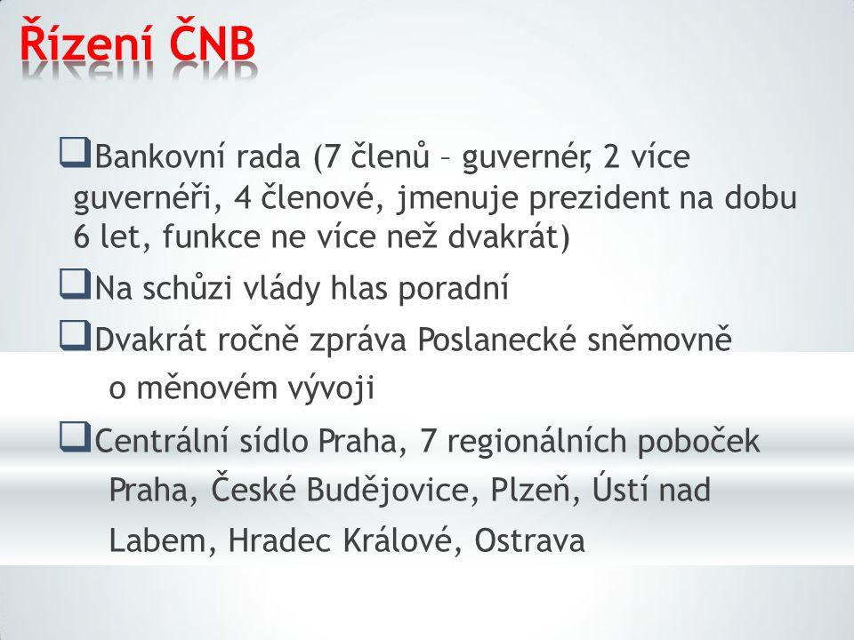 Řízení ČNB Bankovní rada (7 členů – guvernér, 2 více guvernéři, 4 členové, jmenuje prezident na dobu 6 let, funkce ne více než dvakrát)